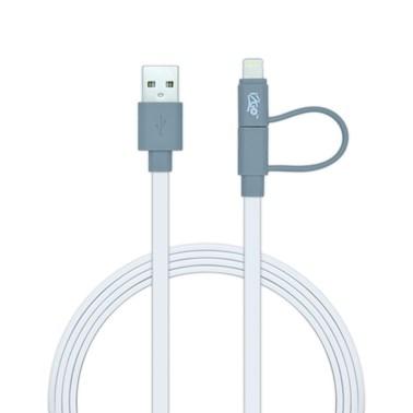 Cabo 2 em 1 Lightning Certificado MFi + Micro USB i2GO Branco - i2GO Basic