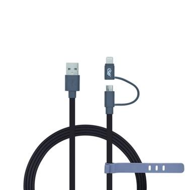 Cabo 2 em 1 Lightning Certificado MFi + Micro USB i2GO Preto - i2GO Basic