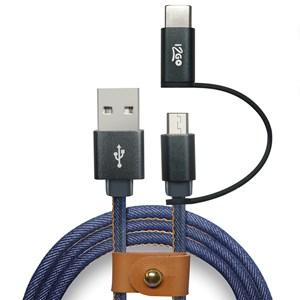 Produto Cabo 2 em 1 Micro USB + USB-C i2GO Jeans 1,5m 2,4A - Jeans Fashion Series