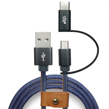 Cabo 2 em 1 Micro USB + USB-C i2GO Jeans 1,5m 2,4A - Jeans Fashion Series