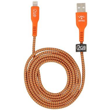 Cabo iPhone/Cabo Lightning i2GO Certificado MFi 1,2m 2,4A Nylon Trançado Laranja e Cinza - Edição Limitada i2GO by Sertões