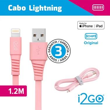 Cabo Iphone/Cabo Lightning i2GO Certificado MFi 1,2m 2,4A PVC Flexível Flat Rosa - i2GO Basic