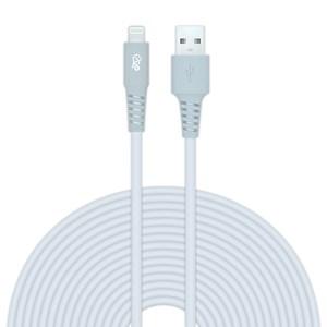 Produto Cabo Iphone/Cabo Lightning i2GO Certificado MFi 3m 2,4A PVC Flexível - Branco com Cinza - i2GO Plus
