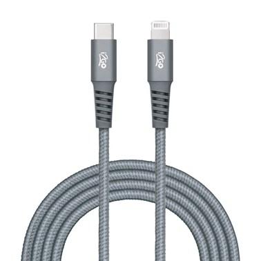 Cabo iPhone/Lightning + USB-C i2GO Certificado MFi 2m 3A Nylon Trançado Chumbo - i2GO PRO