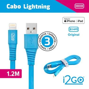 Cabo Lightning i2GO Certificado MFi 1,2m 2,4A PVC Flexível Flat Azul - i2GO Basic