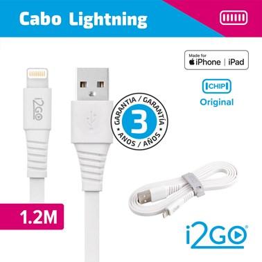 Cabo Lightning i2GO Certificado MFi 1,2m 2,4A PVC Flexível Flat Branco - i2GO Basic