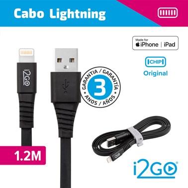Cabo Lightning i2GO Certificado MFi 1,2m 2,4A PVC Flexível Flat Preto - i2GO Basic