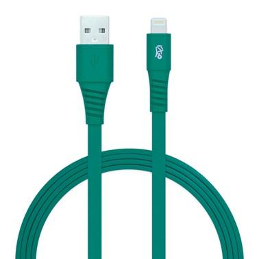Cabo Lightning i2GO Certificado MFi 1,2m 2,4A PVC Flexível Flat Verde - i2GO Basic