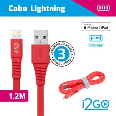 Cabo Lightning i2GO Certificado MFi 1,2m 2,4A PVC Flexível Flat Vermelho - i2GO Basic