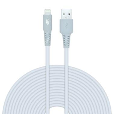 Cabo Lightning i2GO Certificado MFi 3m 2,4A PVC Flexível - Branco com Cinza - i2GO Plus