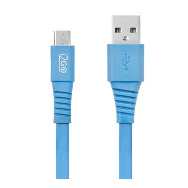 Cabo Micro USB i2GO 1,2m 2,4A PVC Flexível Flat Azul - i2GO Basic