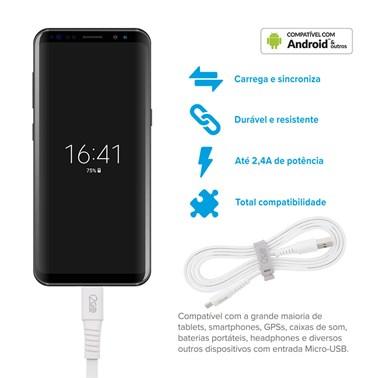 Cabo Micro USB i2GO 1,2m 2,4A PVC Flexível Flat Branco - i2GO Basic