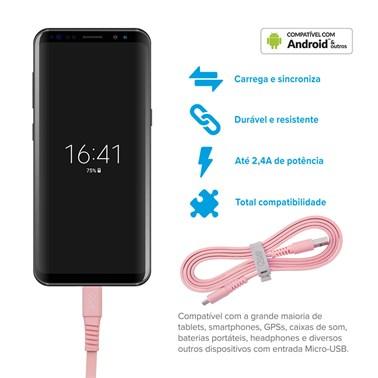 Cabo Micro USB i2GO 1,2m 2,4A PVC Flexível Flat Rosa - i2GO Basic