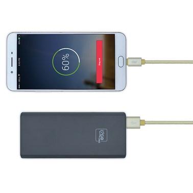 Cabo Micro USB i2GO 2m 2,4A Nylon Trançado Dourado - i2GO PRO
