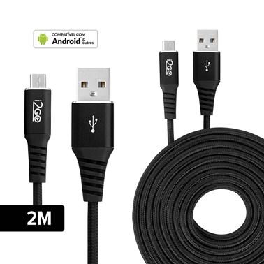 Cabo Micro USB I2GO 2m 2,4A Nylon Trançado Preto - I2GO PRO