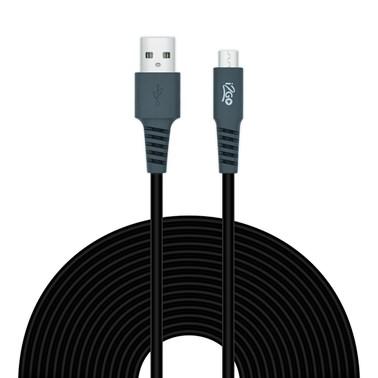 Cabo Micro USB i2GO 3m 2,4A PVC Flexível Preto com Cinza - i2GO Plus