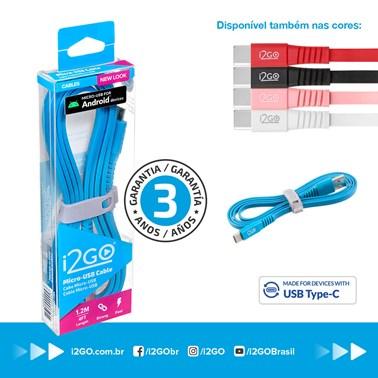 Cabo USB-C i2GO 1,2m 2,4A PVC Flexível Flat Azul - i2GO Basic