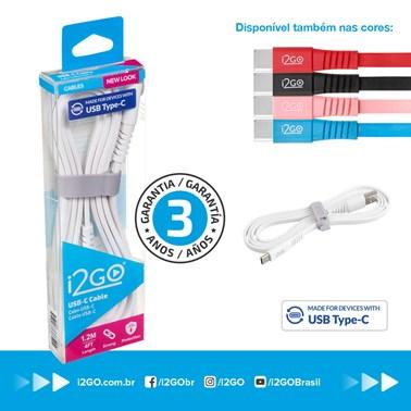 Cabo USB-C i2GO 1,2m 2,4A PVC Flexível Flat Branco - i2GO Basic