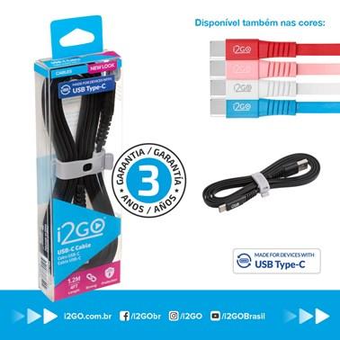 Cabo USB-C i2GO 1,2m 2,4A PVC Flexível Flat Preto - i2GO Basic
