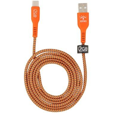 Cabo USB-C i2GO 1,2m 3A Nylon Trançado Laranja e Cinza - Edição Limitada i2GO by Sertões