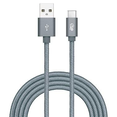 Cabo USB-C i2GO 2m 2,4A Nylon Trançado Chumbo - i2GO PRO