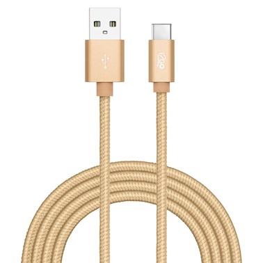 Cabo USB-C i2GO 2m 2,4A Nylon Trançado Dourado - i2GO PRO