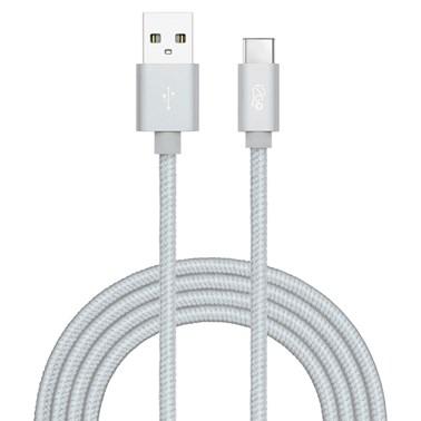 Cabo USB-C i2GO 2m 2,4A Nylon Trançado Prata - i2GO PRO