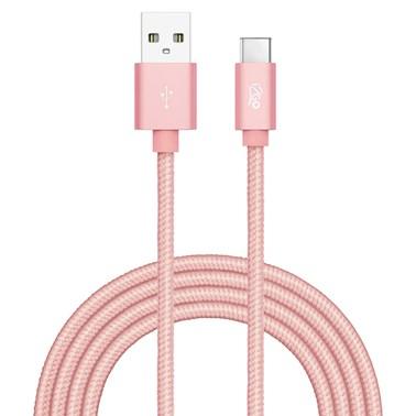 Cabo USB-C i2GO 2m 2,4A Nylon Trançado Rosê - i2GO PRO