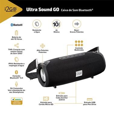 Caixa de Som Bluetooth Ultra Sound Go i2GO 20W RMS Resistente à Água - i2GO PRO