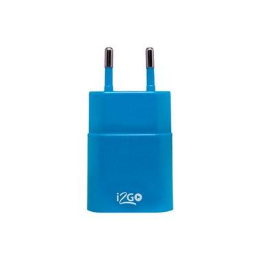 Carregador de Parede com 1 saída USB i2GO Entrada 100-240V Saída 5V-1A Azul - i2GO Basic
