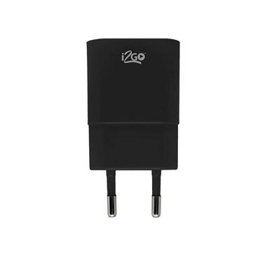 Carregador de Parede com 1 Saída USB i2GO Entrada 100-240V Saída 5V-1A Preto - i2GO Basic