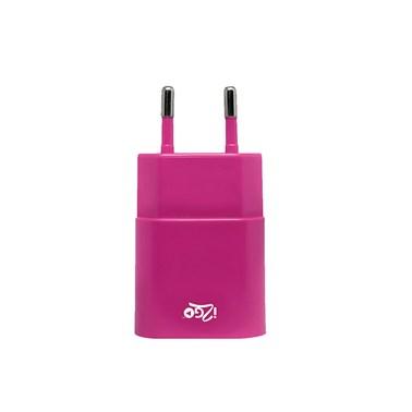 Carregador de Parede com 1 saída USB i2GO Entrada 100-240V Saída 5V-1A Rosa - i2GO Basic