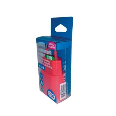 Carregador de Parede com 1 saída USB i2GO Entrada 100-240V Saída 5V-1A Vermelho - i2GO Basic