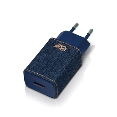 Carregador de Parede com 1 Saída USB i2GO Jeans Entrada 100-240V Saída 5V-2,4A - Jeans Fashion Serie