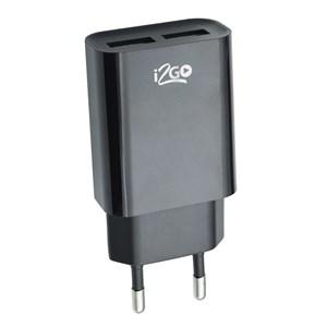 Produto Carregador de Parede com 2 Saídas USB i2GO Entrada 100-240V Saída 5V-2,4A Preto - i2GO Basic