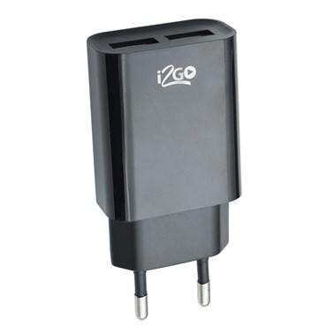 Carregador de Parede com 2 Saídas USB i2GO Entrada 100-240V Saída 5V-2,4A Preto - i2GO Basic