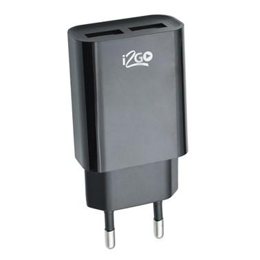 Carregador de Parede com 2 Saídas USB i2GO Entrada 100-240V Saída 5V-2,4A Preto - i2GO Plus