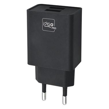 Carregador de Parede com 2 Saídas USB i2GO Entrada 100-240V Saída 5V-3,4A Preto - i2GO PRO