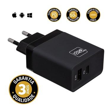 Carregador de Parede Ultra Rápido 30W com 1 Saída USB-C Power Delivery e 1 Saída USB Comum I2GO - i2GO PRO