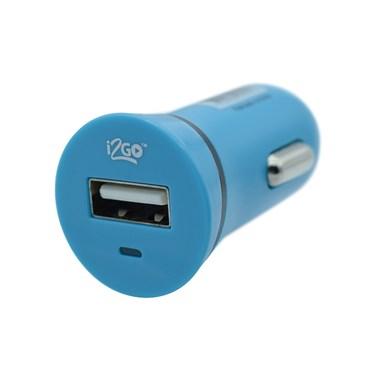 Carregador Veicular com 1 Saída USB i2GO Entrada 12-24V Saída 5V-1A Azul - i2GO Basic