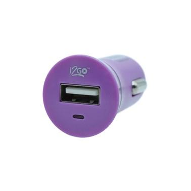 Carregador Veicular com 1 Saída USB i2GO Entrada 12-24V Saída 5V-1A Roxo - i2GO Basic