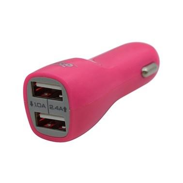 Carregador Veicular com 2 Saídas USB i2GO Entrada 12-24V Saída 5V-2,1A Rosa - i2GO Basic