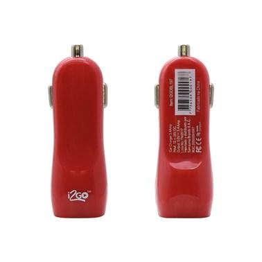 Carregador Veicular com 2 Saídas USB i2GO Entrada 12-24V Saída 5V-2,1A Vermelho - i2GO Basic