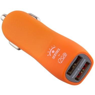 Carregador Veicular Emborrachado com 2 Saídas USB 3,4A Laranja - Edição Limitada i2GO by Sertões
