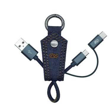 Chaveiro com cabo 2 em 1 Micro USB e USB-C i2GO Jeans 10cm 2,4A - Jeans Fashion Series