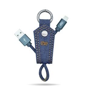 Produto Chaveiro com Cabo Lightining Jeans i2GO Certificado MFi 10cm 2,4A - Jeans Fashion Series