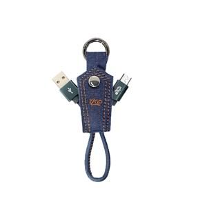 Produto Chaveiro com cabo Micro USB i2GO Jeans 10cm 2,4A - Jeans Fashion Series