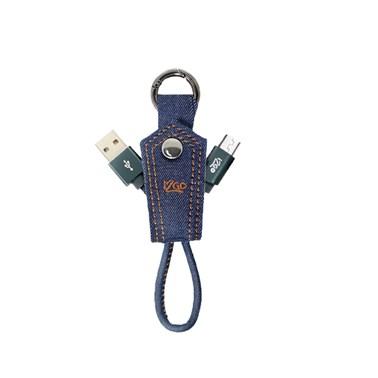 Chaveiro com cabo Micro USB i2GO Jeans 10cm 2,4A - Jeans Fashion Series