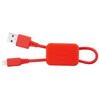 Chaveiro Havaianas by i2GO com Cabo Iphone/Lightning Certificado MFi 24cm 2,4A Vermelho Rubi