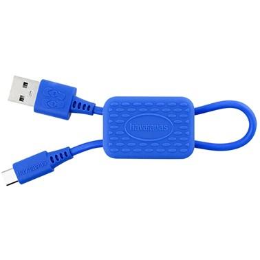 Chaveiro Havaianas by i2GO com Cabo Micro-USB 24cm 2,4A - Azul Estrela